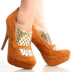 [LE] Tan-Suede Cut Out Women Stiletto High Heel Platform Ankle Booties