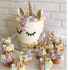 Unicorn Cake and Cupcakes