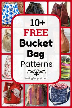 Eleven free Bucket Bag Purse sewing patterns, tutorials, and diy projects. Both fabric and leather designs with drawstring tops. Bag Pattern Free, Bag Patterns To Sew, Sewing Patterns Free, Free Sewing, Diy Sewing Projects, Sewing Tutorials, Felt Projects, Sewing Ideas, Craft Projects