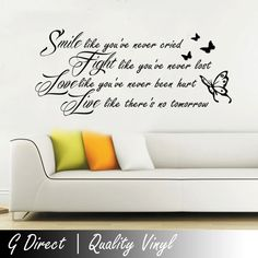 Smile Fight Love Live Inspirational Wall Sticker Quote by GDirect, £14.99