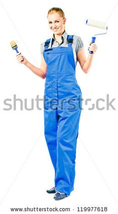 Young woman in blue overalls with painting tools , isolated on white