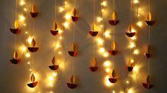 DIY Diwali Decoration Ideas At Home | Diya Decoration Ideas | Diwali Paper Craft - YouTube Diwali Decoration Lights, Diya Decoration Ideas, Ganpati Decoration At Home, Diwali Decorations At Home, Diwali Lights, Festival Decorations, Wall Decorations, Decor Ideas, Diwali Pooja