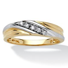 Men's 1/10 TCW Round Diamond 10k Yellow Gold Diagonal Wedding Band Ring