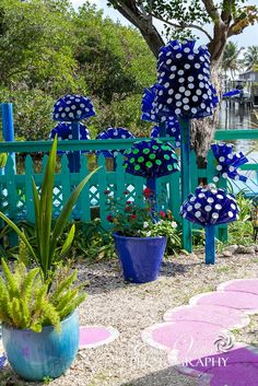 ** Wine Bottle Tree Mushrooms As Garden Art