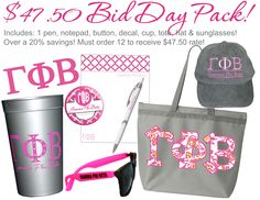 $47.50 Bid Day Pack.  Includes a pen, notepad, button, decal, cup, tote, pair of sunglasses and a hat.  Available at CrescentCorner.com