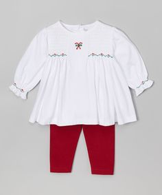 Look at this White Smocked Candy Cane Tunic & Red Leggings on #zulily today!
