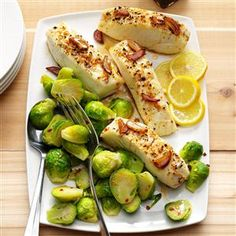 Ginger Halibut with Brussels Sprouts Recipe -I moved to the United States from Russia and love cooking Russian food for family and friends. Halibut with soy sauce, ginger and pepper is a favorite. —Margarita Parker, New Bern, North Carolina