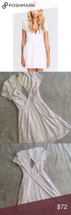 NWT Show Me Your Mumu Ibiza Dress White Lace Brand new, never worn. Ibiza Dress by Show Me Your Mumu in Larose Lace White. Mini dress with short sleeves, V-neck and empire waist. Cutout back. Lined. Perfect for wedding or bridal events. Note: this has never been worn, but there are some spots (maybe self tanner?) on different parts of the dress from try-on that can likely be removed with cleaning, see image collage (neckline, sleeve, inside bust, front waist). Size XS, see photos for…