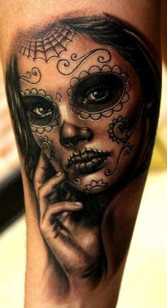 Sugar skull black ink tattoo on arm. Almost perfect. :)