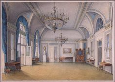 Author: Nikanor Grigoryevich Chernetsov. Interiors, Drawings, Pencil and watercolour, 20x29 cm. Origin: Russia, 1837. Personage: Alexander II. Source of entry: from the Library of Alexander II in the Winter Palace, 1927. Theme: Architecture.
