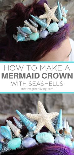 How to make a DIY mermaid crown from a kids dollar store tiara headband. Native American Halloween Costume, Mermaid Halloween Costumes, Couple Halloween Costumes For Adults, Halloween Crafts, Halloween Cosplay, Couple Costumes, Adult Costumes, Halloween Ideas, Halloween Decorations