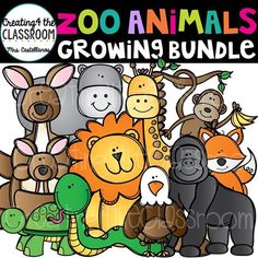 Vibrant and whimsical Zoo Animals Clip Art Growing Bundle allows you to begin creating now! This huge bundle will also include separate animal faces! Visit my TpT store to get a closer look! #creating4theclassroom #backtoschool #teacherfreebie #clipartforteachers