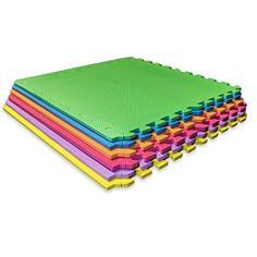 Puzzle Exercise Mat Colorful EVA Foam Interlocking Tiles, Item Includes 6 tiles and 12 border edges - Foam floor mat to cushion hard floor surfaces., By Sivan Health and Fitness Interlocking Mats, Interlocking Flooring, Floor Workouts, Fun Workouts, Workout Accessories, Fitness Accessories, Mat Exercises, Improve Yourself, Cool Things To Buy