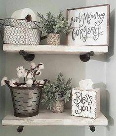 Shelves, wire basket, greenery ✔️