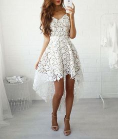 white A-line lace high low prom dress, lace homecoming dress