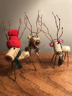 Items similar to Wine Cork Reindeer on Etsy Christmas Crafts For Kids, Christmas Art, Christmas Projects, Holiday Crafts, Christmas Ornaments, Xmas, Snowman Ornaments, Wine Craft, Wine Cork Crafts