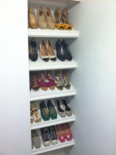 Walk In Closet Shoe Storage Beautiful Designer Shoe Shelves On A Bud Master Bedroom Shoe Shelf In Closet, Shoe Shelf Diy, Diy Shoe Rack, Shoe Rack With Shelf, Walk In Closet, Rack Shelf, Shoe Racks, Shelves For Shoes, Shoe Closet Organization