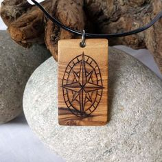 Mens Compass Necklace, Wood Compass Pendant, Compass Jewelry For Men Pyrography Necklace