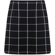Miss Selfridge Mono Check Plaid Zip-Front Mini Skirt ($60) ❤ liked on Polyvore featuring skirts, mini skirts, bottoms, black, black plaid mini skirt, tartan mini skirt, checkered skirt, short mini skirts and tartan skirt