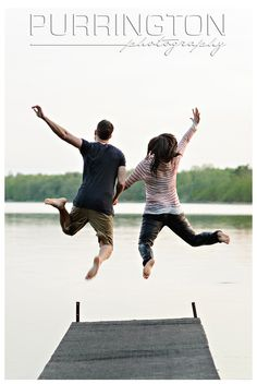 Taking the leap!  Fun engagement photo idea!  © Purrington Photography