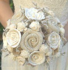 Rustic Cream Ivory Bride's Alternative Wedding Bouquet - Sola Wood, Wildflowers, Vintage Paper Flowers, Fabric  Flowers, Burlap Rosettes. $115.00, via Etsy.