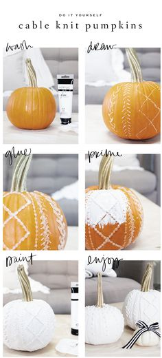 Black and White Cable Knit and Calligraphy Pumpkins : Saffron Avenue This year I decided to stick to black and white calligraphy pumpkins but also try something new and create cable knit pumpkins as well! Fall Crafts, Holiday Crafts, Holiday Fun, Holiday Decor, Halloween Pumpkins, Halloween Crafts, Christmas Pumpkins, Fall Pumpkins, Thanksgiving Decorations