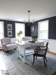 Migonis Home Hale Navy and White Home Office Tufted Chairs Beachy Chic Coastal Navy Living Rooms, Coastal Living Rooms, Living Room Paint, Navy And White Living Room, Home Office Space, Home Office Design, Home Office Decor, Home Decor, Office Designs