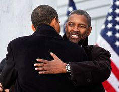 "President-elect Barack Obama hugs actor Denzel Washington in front of the Lincoln Memorial during the ""We Are One: The Obama Inaugural Celebration At The Lincoln Memorial"" on January 2009 at the National Mall in Washington, DC. Michelle Obama, First Black President, Mr President, Black Presidents, American Presidents, American History, American Soldiers, British History, Native American"