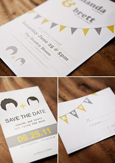 "Crafty and cute wedding ""save the dates"" are personalized with etches of couple's faces,  Sarah Culver Photography"