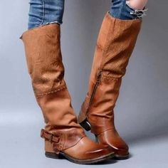 Women Vintage Booties Casual Plus Size Shoes High Leather Boots, Lace Up Boots, Knee High Boots, Calf Boots, Westerns, Mens Shoes Boots, Toe Shoes, Stylish Boots, Vintage Boots