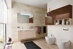 moderne badezimmer ideen warme farbgestaltung badmöbel