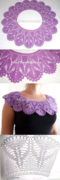 Knitting jacket ganchillo 15 ideas for 2019 Crochet Collar Pattern, Col Crochet, Crochet Motifs, Crochet Diagram, Crochet Blouse, Thread Crochet, Crochet Scarves, Irish Crochet, Crochet Shawl