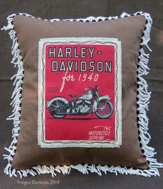 Vintage 1940 Harley Davidson Motorcycle pillow handcrafted by Craig Dorsey