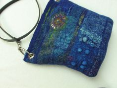 Felted wool collage bag with silk leather strap by AndreaGraham, $250.00