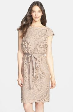 Free shipping and returns on Tadashi Shoji Lace Blouson Dress (Regular & Petite) at Nordstrom.com. Ornate lace adds intrigue to the natural palette of a cap-sleeve blouson dress cinched at the waist by a satin tie. The scalloped edges are fringed with eyelash trim for an elevated finish.