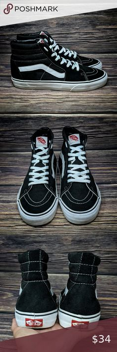 Vans Skateboard Shoes Black White High Tops 11 Vans Skateboard Shoe Black White High Tops Off The Wall Unisex Men 9.5 Women 11.   Pre-owned with lots of life left. Please see pictures for details.   Smoke free home. Vans Shoes Athletic Shoes White High Tops, Black And White, Vans Skateboard, Vans Sk8, Vans Shoes, Black Shoes, Athletic Shoes, High Top Sneakers, Smoke Free