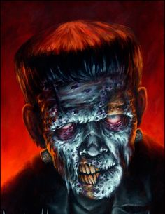 Part of my series Famous Zombies of the Movies Oil on board FZ Frankenstein Horror Icons, Horror Art, Horror Movies, Zombie Monster, Frankenstein's Monster, Monster Squad, Classic Monster Movies, Classic Monsters, Beetlejuice