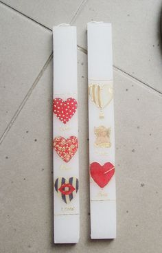 Hearts Greek Easter candle four sided by AkatosCollectibles, $26.50