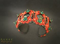 Red soutache cuff bracelet by pUkke on Etsy