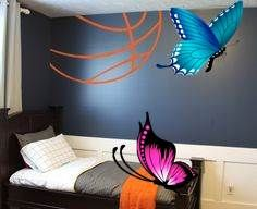 Basketball Lines Wall Decal Basketball Lines Wall Decal has been one of our top sellers for years! It looks like a ball is bursting from your corner... a huge visual statement in your room with minimal effort. #basketball<br> Basketball Bedroom, First Sewing Projects, Bedroom Themes, Neymar, Effort, Wall Decals, Minimal, Corner, Simple