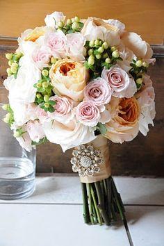 David Austin Roses / Garden rose and spray rose bouquet / romantic wedding bouquet / bride's bouquet / blush bouquet /