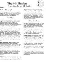 The Basics - A Newsletter for new Families (For the full newsletter… 4 H Clover, 4 H Club, Fair Projects, Ffa, First Contact, The 4, Agriculture, Fun Things, Kids Crafts