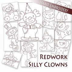 Silly Clowns Hand Embroidery Redwork, 10 patterns