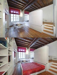 Einrichtungsideen Schlafbereich Schrank minimalistische Einzimmerwohnung einrichten