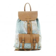 Simple rucksack style with classic world map print. Light brown leather flaps and strapping. Cotton canvas lined interior. Multiple zip pockets. Handmade – South Africa