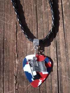 American Flag Guitar Pick Necklace - Handmade. Colors available Camo, Confetti, Red, White or Blue.