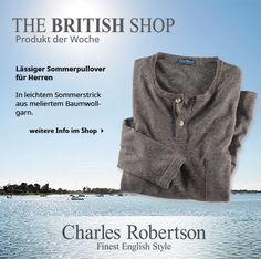 Unser Lieblingsprodukt der Woche ist dieser sommerlich-leichte Herrenpullover von Charles Robertson.