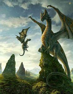 First Lesson by Kerem Beyit - dragon, dragons - Art of Fantasy Fantasy Artwork, Dragon Medieval, Dragon Skyrim, Cool Dragons, Dragon Artwork, Dragon Drawings, Dragon Pictures, Baby Dragon, Dragon King