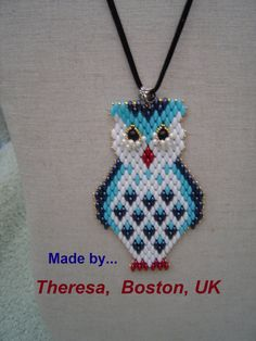 Tutorial Superduo OWL Pendant. Pattern to make a Bird Pendant in Super Duo or…