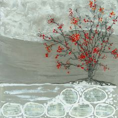 "Winterberry 1 - 8 X 8"" Encaustic, collage"